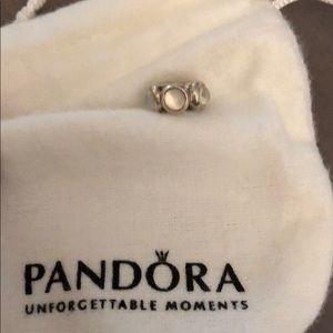 Pandora spacer, 5 white-ish stones.